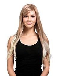 저렴한 -Capless Extra Long High Quality Synthetic Natural Look Light Blonde With White Straight Hair Wig