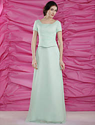 cheap -Sheath / Column Square Neck Floor Length Chiffon Mother of the Bride Dress with Beading Side Draping by LAN TING BRIDE®