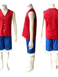 ราคาถูก -แรงบันดาลใจจาก One Piece Monkey D. Luffy การ์ตูนอานิเมะ คอสเพลย์และคอสตูม ชุดคอสเพลย์ ลายต่อ เสื้อไม่มีแขน เสื้อกั๊ก / กางเกงขาสั้น สำหรับ สำหรับผู้ชาย