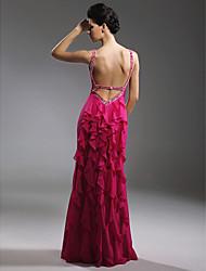 Kroj uz tijelo Do poda Šifon Matura Formalna večer Svečana priredba Haljina s Perlica Drapirano padajuće po TS Couture®