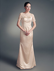 cheap -Sheath / Column Jewel Neck Floor Length Satin Mother of the Bride Dress with Beading Lace by LAN TING BRIDE®