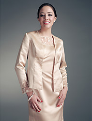 Satin Wedding Party Evening Women's Wrap With Beading Coats / Jackets
