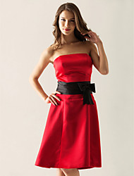 A-Line Princess Strapless Knee Length Satin Bridesmaid Dress with Bow(s) Sash / Ribbon by LAN TING BRIDE®