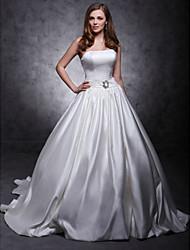 Princesa Sem Alças Cauda Capela Cetim Vestido de casamento com Faixa / Fita Botão Broche de Cristal em forma de Flor de LAN TING BRIDE®