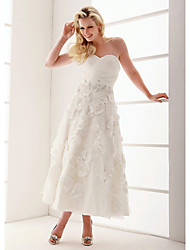cheap -A-Line / Princess Sweetheart Neckline Ankle Length Organza / Floral Lace Made-To-Measure Wedding Dresses with Beading / Appliques /