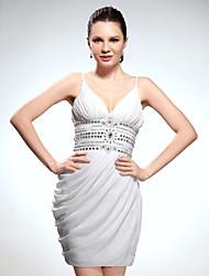 Mantel / Spalte V-Ausschnitt Spaghetti-Trägern kurz / Mini-Chiffon Abschluss Kleid mit Perlen von ts couture®
