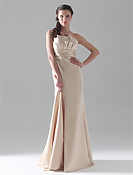 A-Line Princess Mermaid / Trumpet Strapless Floor Length Satin Bridesmaid Dress with Ruching Ruffles by LAN TING BRIDE®