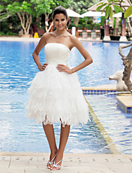 cheap -A-Line Strapless Knee Length Organza Satin Wedding Dress with Tiered by LAN TING BRIDE®
