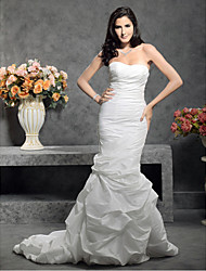 Mermaid / Trumpet Sweetheart Court Train Taffeta Wedding Dress with Pick-Up Side-Draped Button by LAN TING BRIDE®