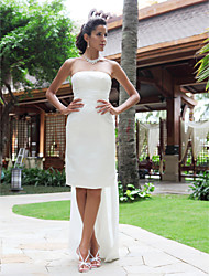 cheap -Sheath / Column Strapless Knee Length Satin Made-To-Measure Wedding Dresses with Pocket by / Little White Dress