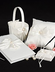 cheap -Garden Theme Collection Set With Faux Pearl Bow Satin Wedding Ceremony