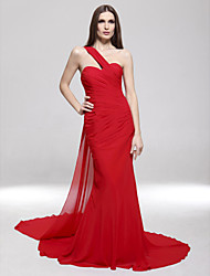 Mermaid / Trumpet One Shoulder Sweep / Brush Train Chiffon Formal Evening Military Ball Dress with Side Draping by TS Couture®