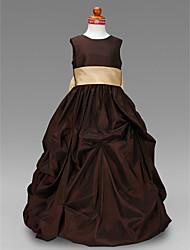 Ballkleid Bodenlänge Blumenmädchen Kleid - Taft ärmelloser Juwelhals von lan ting bride®