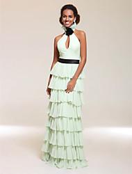 abordables -Gaine / colonne Halter v-neck longueur au sol robe de soirée en mousseline de soie avec flower by ts couture®