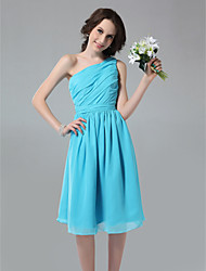 A-Line One Shoulder Knee Length Chiffon Bridesmaid Dress with Side Draping Ruching Pleats by LAN TING BRIDE®