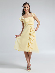cheap -A-Line Straps Knee Length Chiffon Bridesmaid Dress with Draping / Ruffles by LAN TING BRIDE®