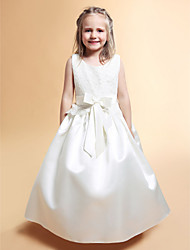 cheap -A-Line / Princess Floor Length Flower Girl Dress - Lace / Satin Sleeveless Scoop Neck with Bow(s) / Lace / Sash / Ribbon by LAN TING BRIDE® / Spring / Summer / Fall / Winter / First Communion
