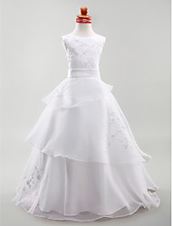cheap -A-Line Princess Floor Length Flower Girl Dress - Satin Sleeveless Jewel Neck by LAN TING BRIDE®