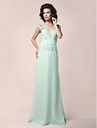 cheap -A-Line V Neck Floor Length Chiffon / Beaded Lace Mother of the Bride Dress with Beading / Lace / Ruched by LAN TING BRIDE®