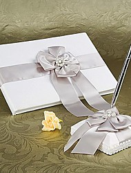 cheap -Guest Book Pen Set Satin Garden Theme With Faux Pearl Wedding Ceremony