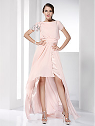 Sheath / Column Bateau Neck Floor Length Asymmetrical Chiffon Prom Dress with Ruching by TS Couture®