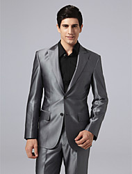 Suits Tailored Fit Peak Single Breasted Two-buttons Polyester Solid Straight Flapped