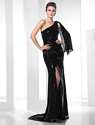 Mermaid / Trumpet One Shoulder Sweep / Brush Train Sequined Formal Evening Dress with Beading Draping Sequins by TS Couture®