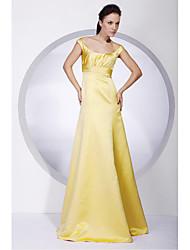 billige -A-linje Prinsesse Skulderfri Gulvlang Satin Brudepigekjole med Drapering ved LAN TING BRIDE®