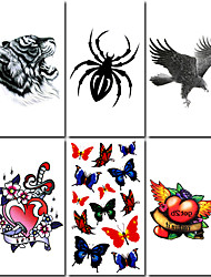 6 pcs tigre e spider tattoo temporária mista