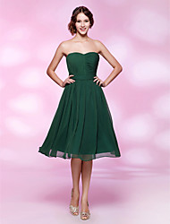 cheap -A-Line Princess Strapless Sweetheart Knee Length Chiffon Holiday Dress with Draping by TS Couture®