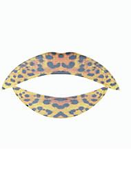 5 Pcs Leopard Temporaty Lip Tattoo Sticker