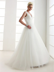 cheap -A-Line / Princess V Neck Floor Length Tulle Made-To-Measure Wedding Dresses with Beading / Criss-Cross by LAN TING BRIDE® / Open Back