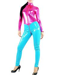 billige -Skinnende Zentai Dragt Ninja Spandex Heldragt Cosplay Kostumer Patchwork Trikot/Heldragtskostumer Zentai PVC Dame Halloween Karneval