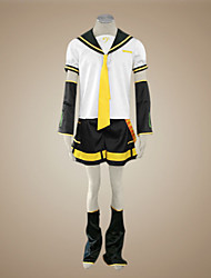 cheap -Inspired by Vocaloid Kagamine Len Video Game Cosplay Costumes Cosplay Suits Patchwork Short Sleeve Top Sleeves Belt Leg Warmers Shorts Tie