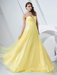 A-Line Princess Strapless Sweetheart Floor Length Satin Tulle Prom Dress with Beading by TS Couture®