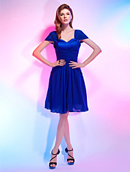 cheap -A-Line Sweetheart Knee Length Chiffon Stretch Satin Cocktail Party / Homecoming Dress with Draping by TS Couture®