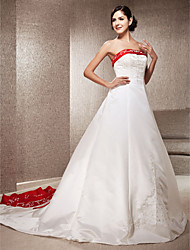 cheap -A-Line Princess Strapless Cathedral Train Satin Wedding Dress with Appliques Embroidered by LAN TING BRIDE®