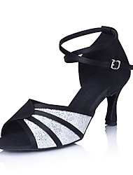 "Women's Latin Ballroom Sparkling Glitter Satin Sandal Buckle Stiletto Heel Multi Color 3"" - 3 3/4"" Non Customizable"