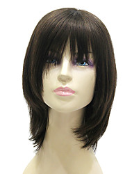 Capless Medium Long Black Silky Straight 100% Human Hair Wig