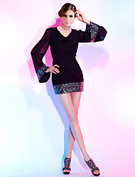 cheap -Sheath / Column V Neck Short / Mini Chiffon Sequined Cocktail Party Dress with Sequin by TS Couture®