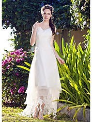 A-Line V-neck Asymmetrical Organza Wedding Dress with Lace by LAN TING BRIDE®