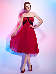 cheap -A-Line / Princess Strapless Knee Length Chiffon / Satin Cocktail Party Dress with Draping / Sash / Ribbon by TS Couture®