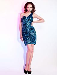 Tubinho Assimétrico Decote Princesa Curto / Mini Paetês Coquetel Reunião de Classe Feriado Vestido com Drapeado Lateral de TS Couture®