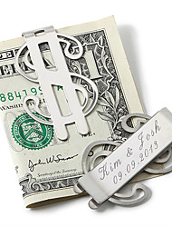 cheap -Groom Groomsman Stainless Steel Money Clips Wedding Anniversary