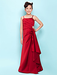 cheap -A-Line Spaghetti Strap Floor Length Satin Junior Bridesmaid Dress with Side Draping / Cascading Ruffles / Crystal Brooch by LAN TING BRIDE® / Spring / Summer / Fall / Hourglass / Inverted Triangle