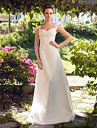Linha A Decote Princesa Longo Cetim Tule Vestido de casamento com Miçangas Apliques de LAN TING BRIDE®
