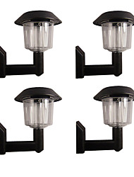 Set of 4 White  Fence Wall Mount Solar Lights