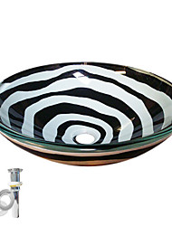 cheap -Contemporary Round Sink Material is Tempered Glass Bathroom Mounting Ring Kitchen Water Drain