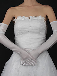 cheap -Satin Cotton Wrist Length Opera Length Glove Charm Stylish Bridal Gloves With Embroidery Solid