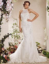 cheap -Mermaid / Trumpet Halter Neck Court Train Satin / Tulle Made-To-Measure Wedding Dresses with Bowknot / Beading / Appliques by LAN TING